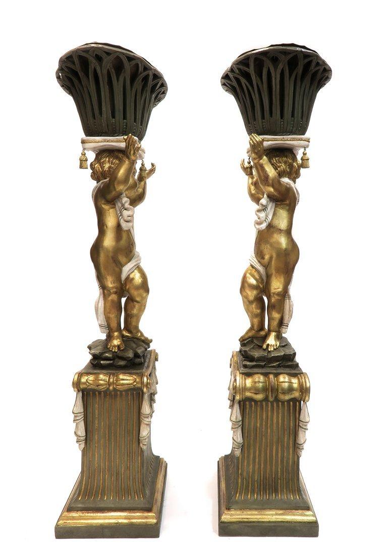 A Pair of Monumental Carved Wood Figural Jardinieres - 5