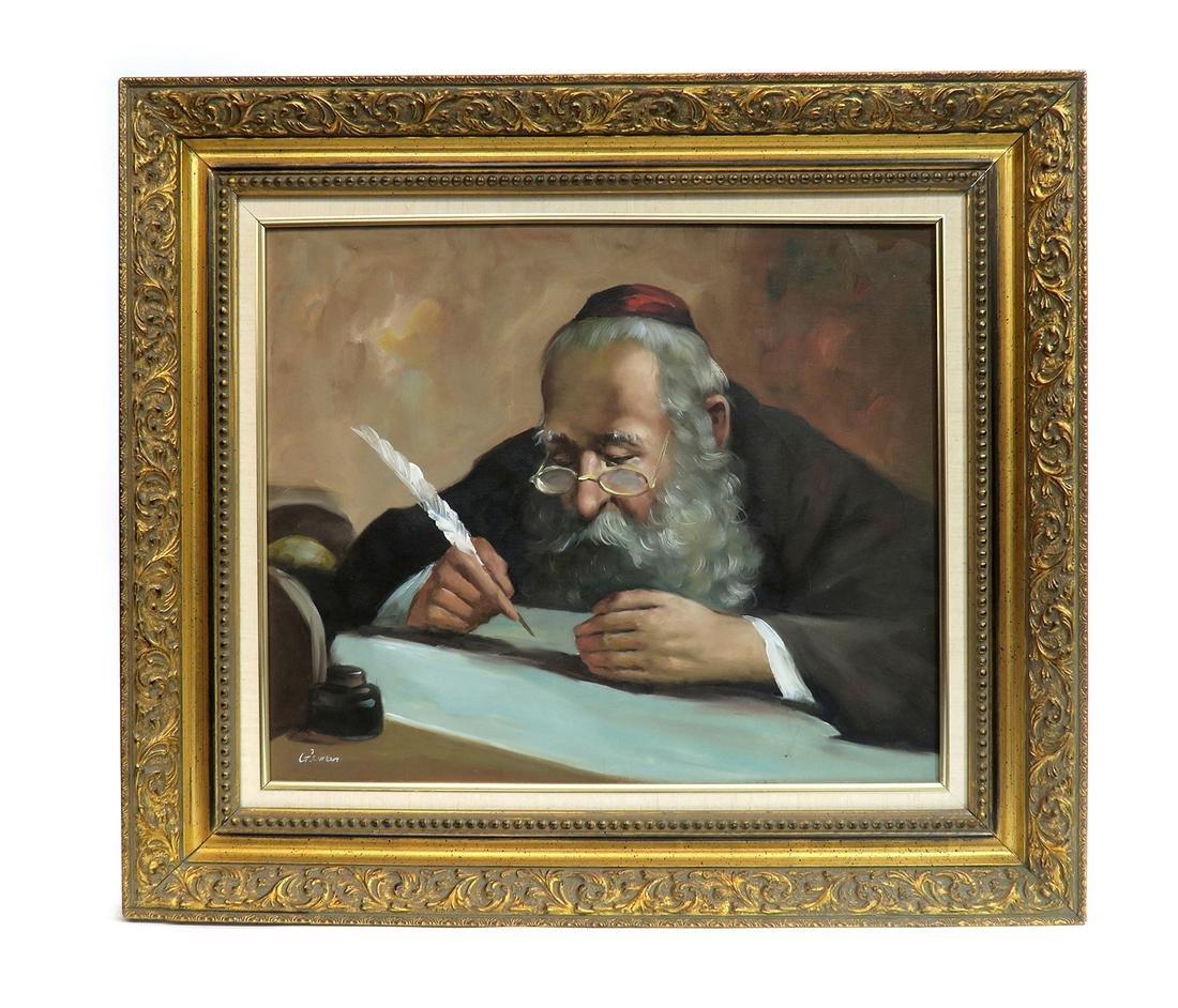 Judaica Rabbi Oil on Canvas Painting by Gaiman