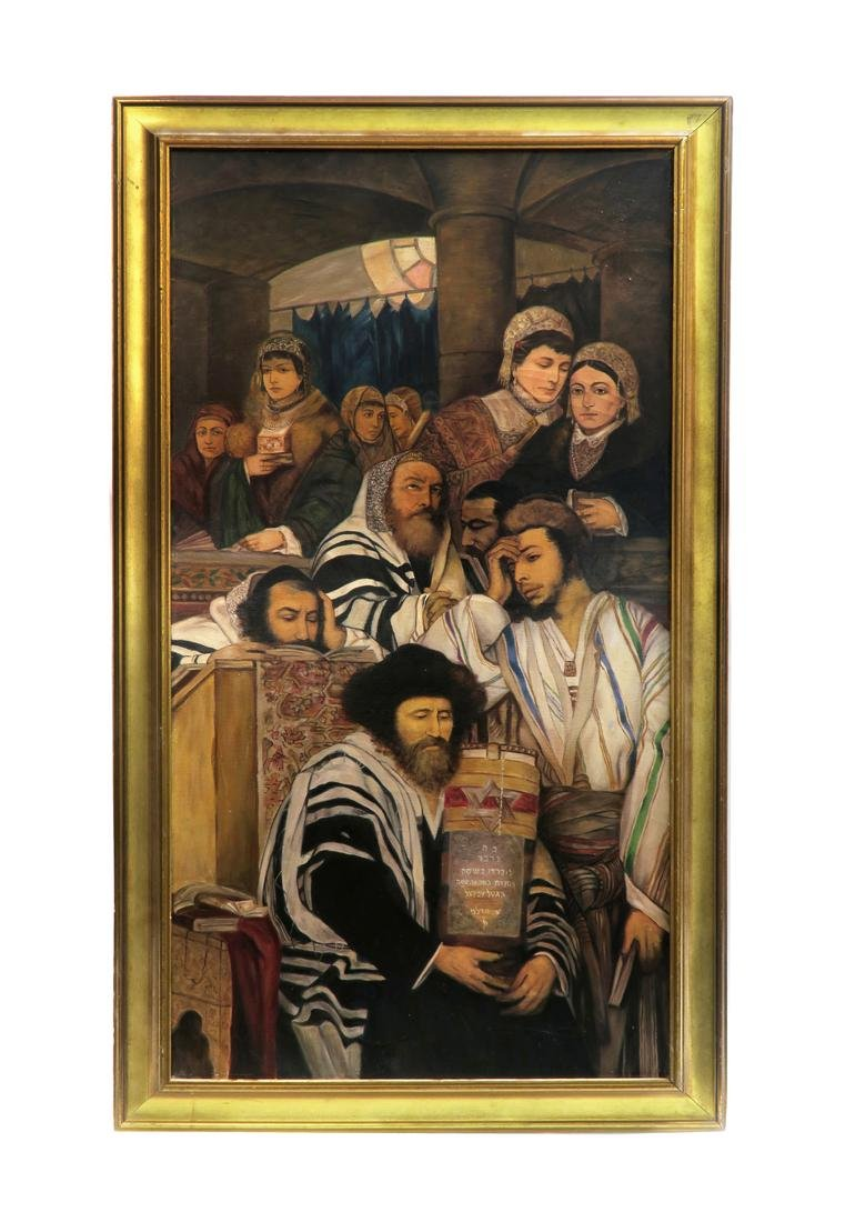 A Large Judaica Oil on Canvas, After Maurycy Gottlieb