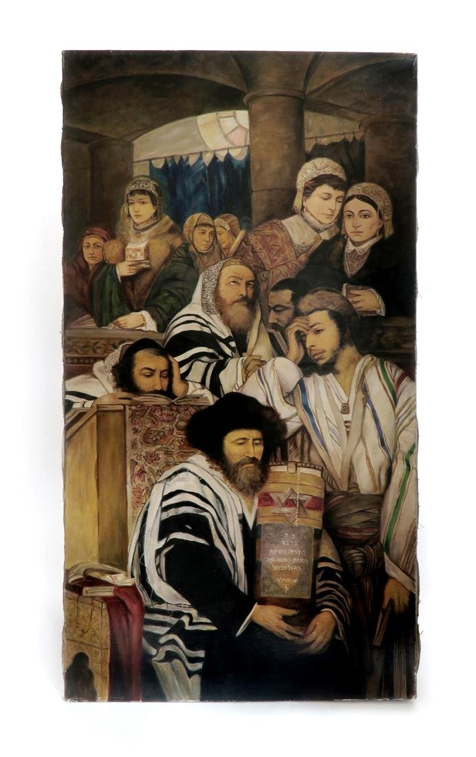 A Large Judaica Oil on Canvas, After Maurycy Gottlieb - 2