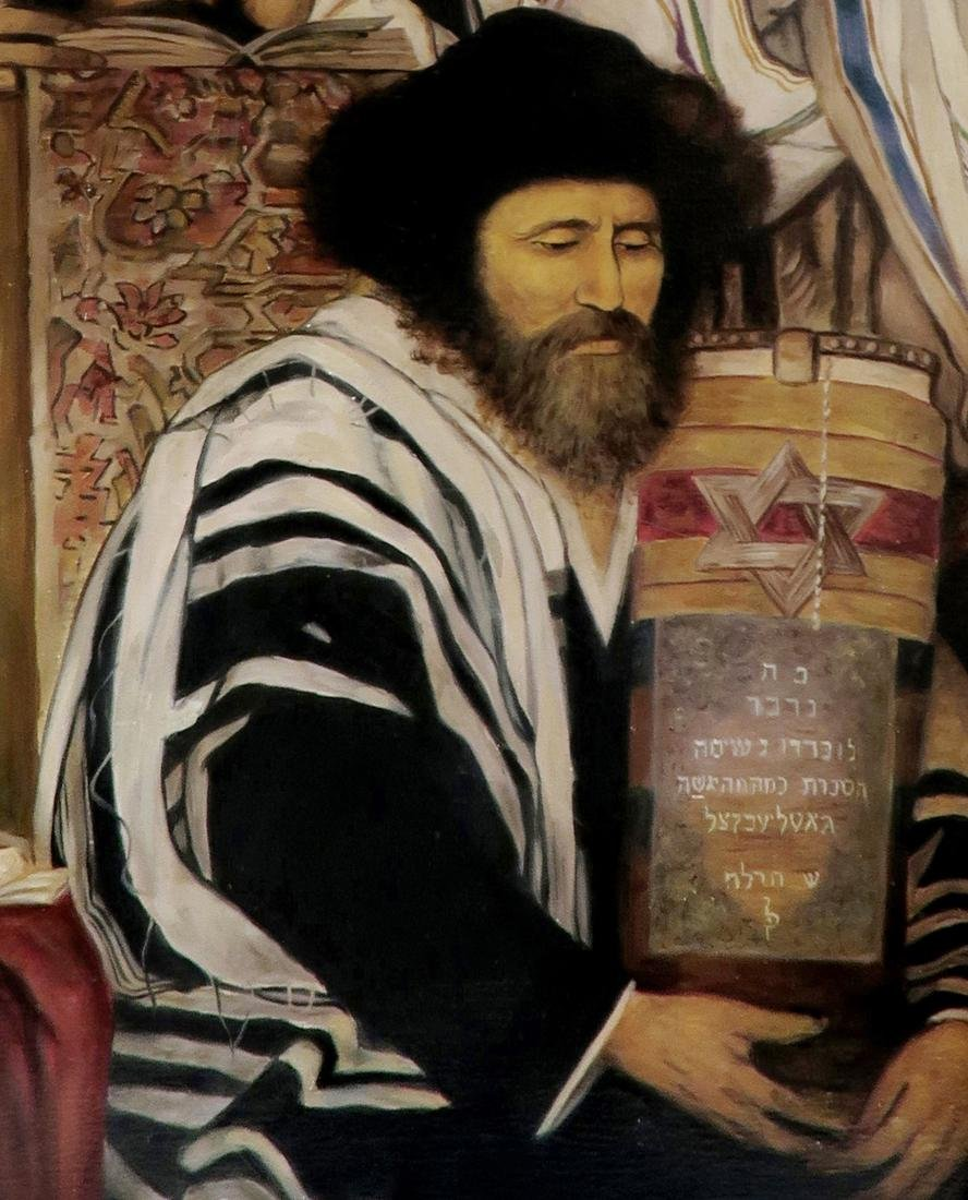A Large Judaica Oil on Canvas, After Maurycy Gottlieb - 3