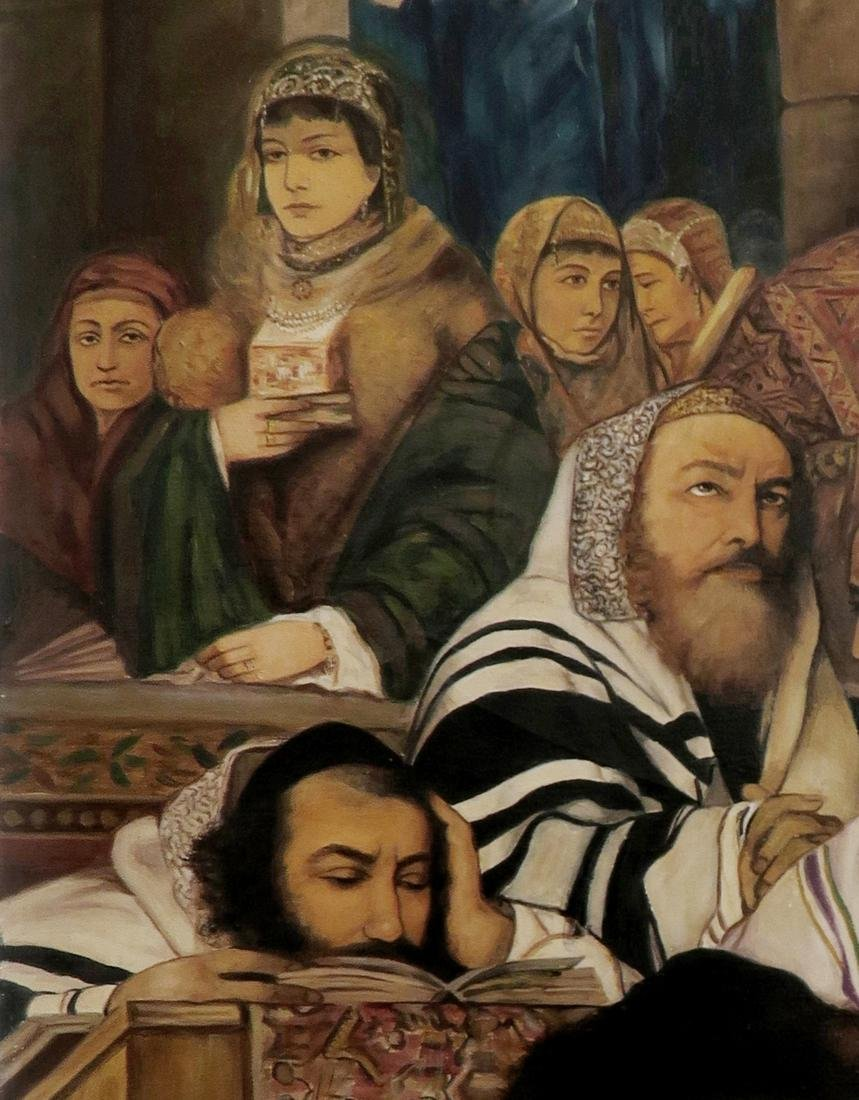 A Large Judaica Oil on Canvas, After Maurycy Gottlieb - 4