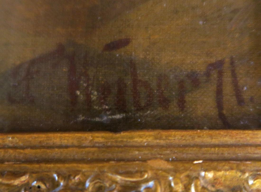 Large 19th C Oil on Canvas signed F. Weiber - 5