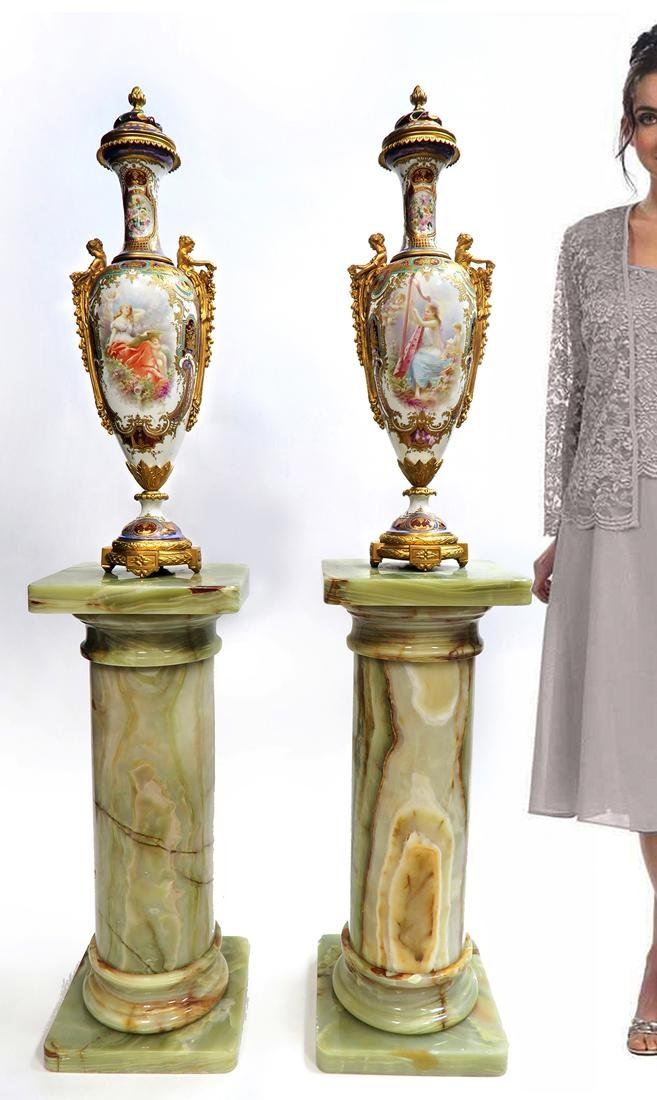 19th C. Monumental Bronze Mounted Sevres Vases