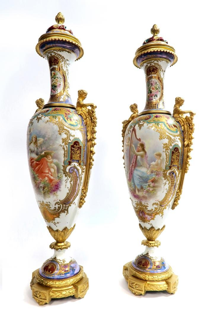 19th C. Monumental Bronze Mounted Sevres Vases - 2
