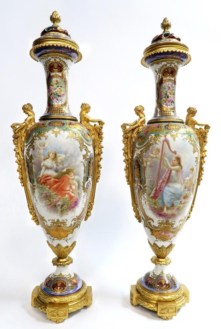 19th C. Monumental Bronze Mounted Sevres Vases - 3
