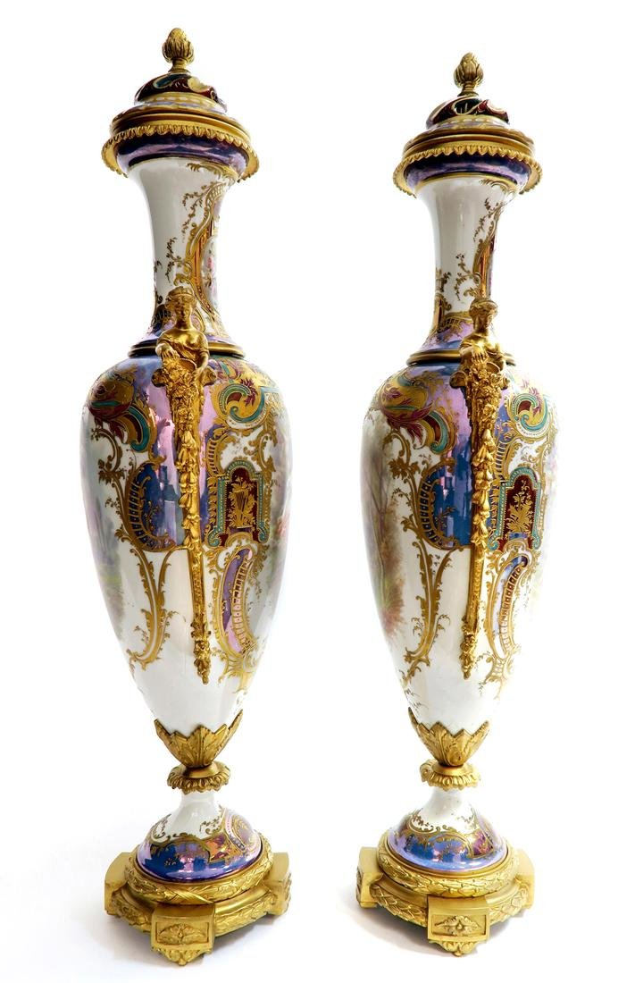 19th C. Monumental Bronze Mounted Sevres Vases - 4