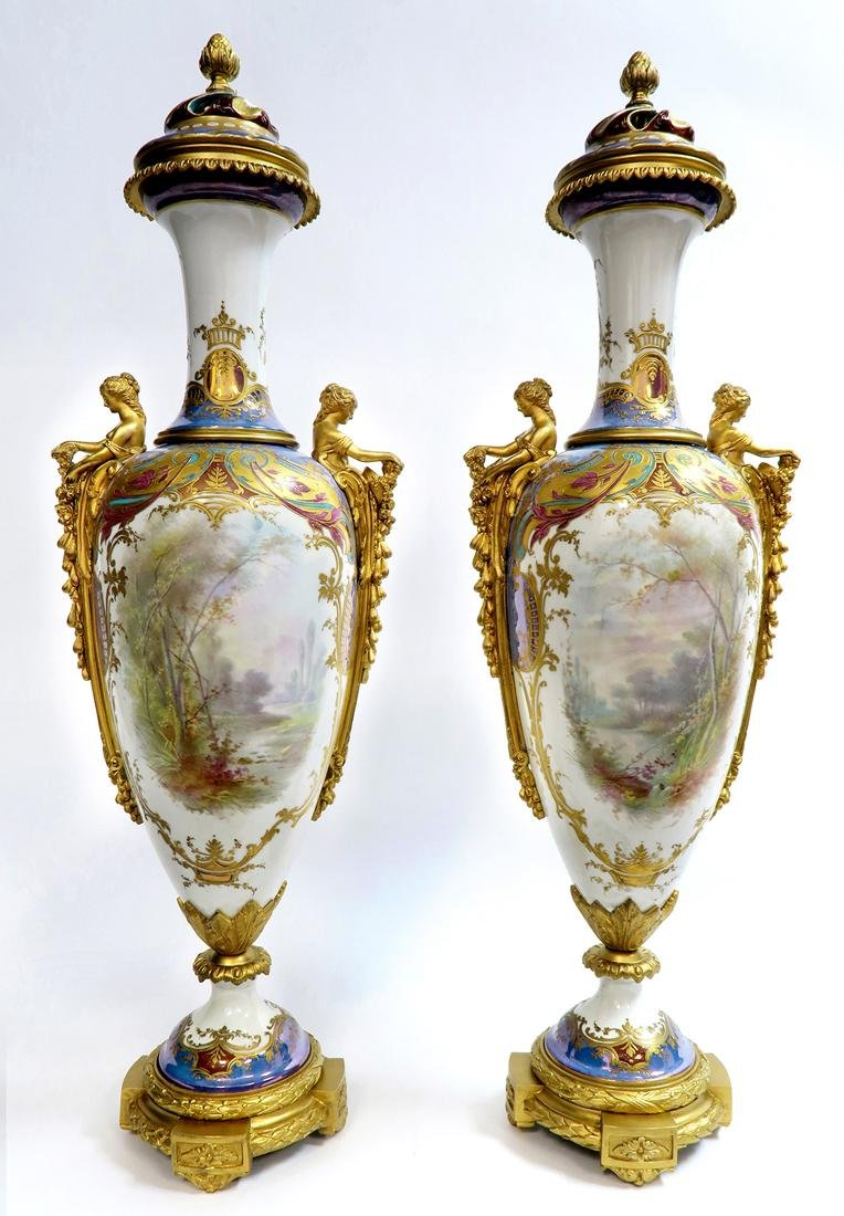 19th C. Monumental Bronze Mounted Sevres Vases - 5