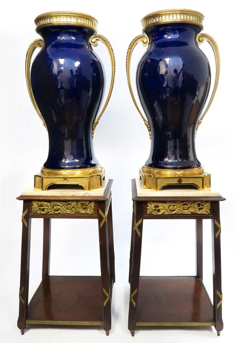 Monumental Pair of French Bronze Mounted Sevres Vases - 2