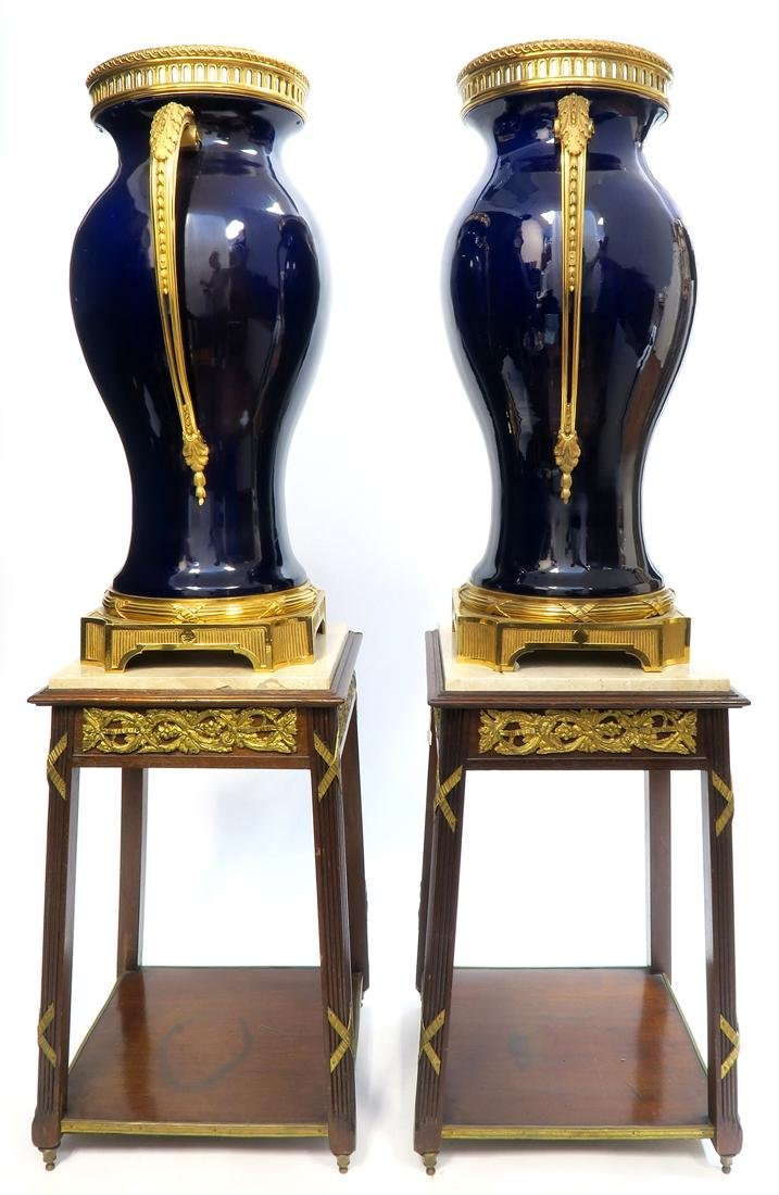 Monumental Pair of French Bronze Mounted Sevres Vases - 3