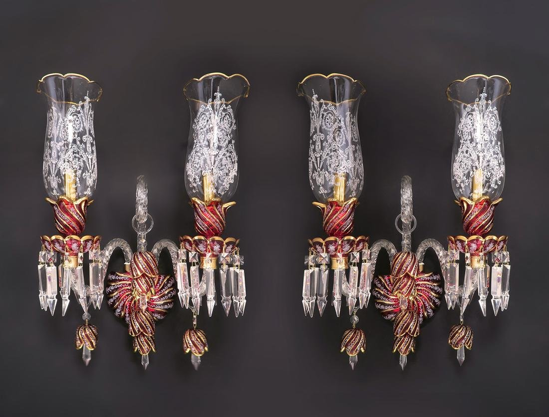 A Pair of Baccarat Style Crystal Sconces