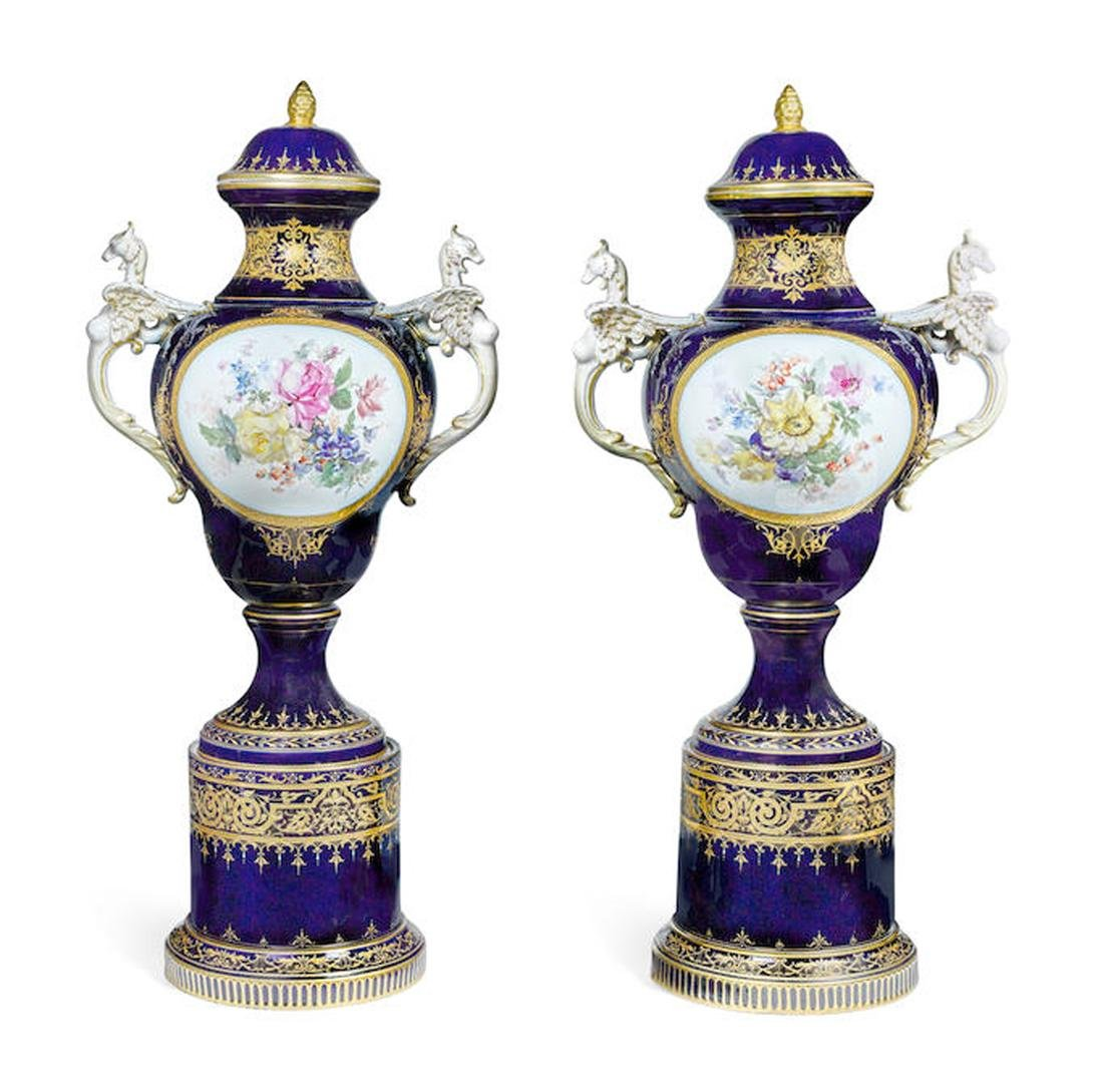 PAIR OF VIENNA STYLE COVERED VASES ON SEPARATE PEDESTAL - 2