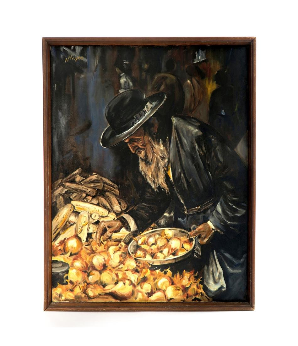 Rabbi Judaica Oil on Canvas Painting By Hayes