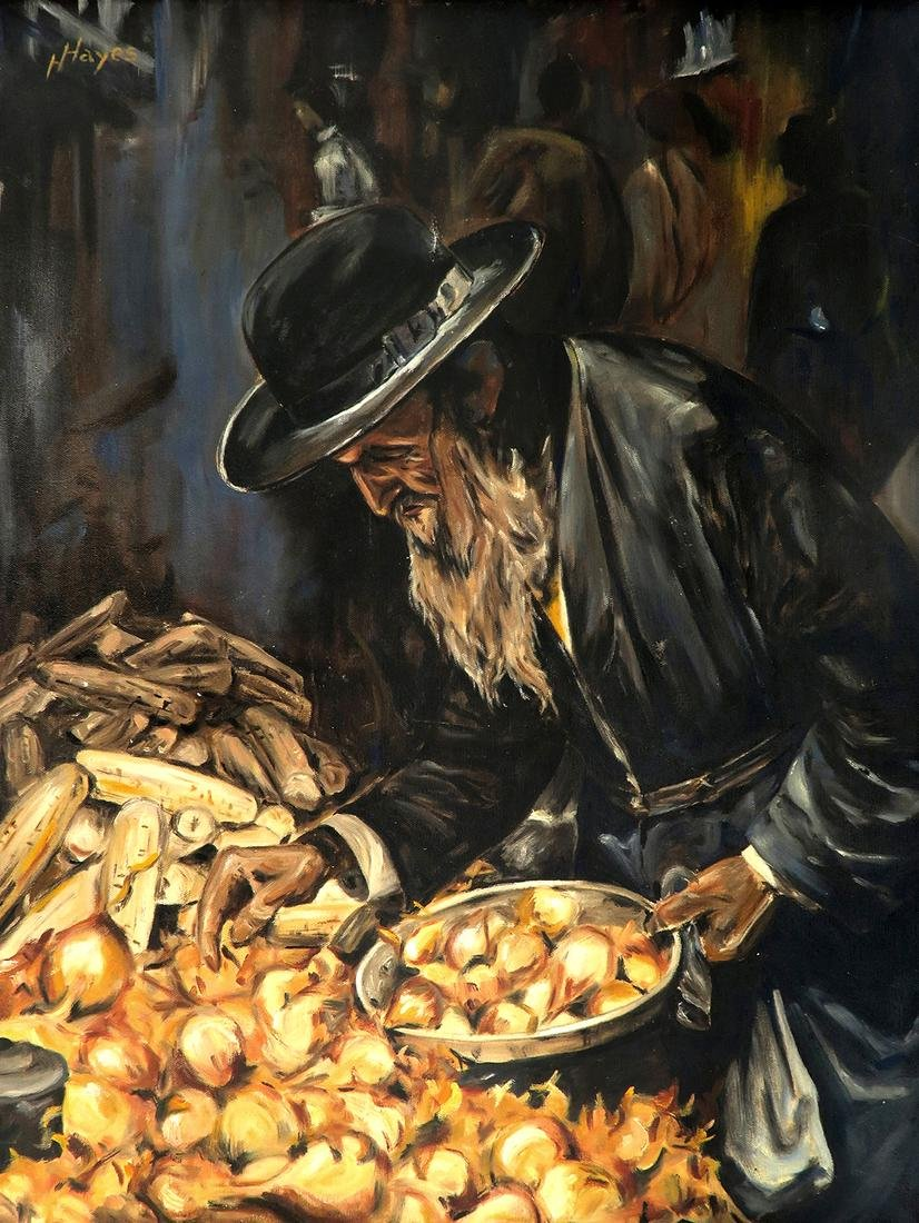 Rabbi Judaica Oil on Canvas Painting By Hayes - 2