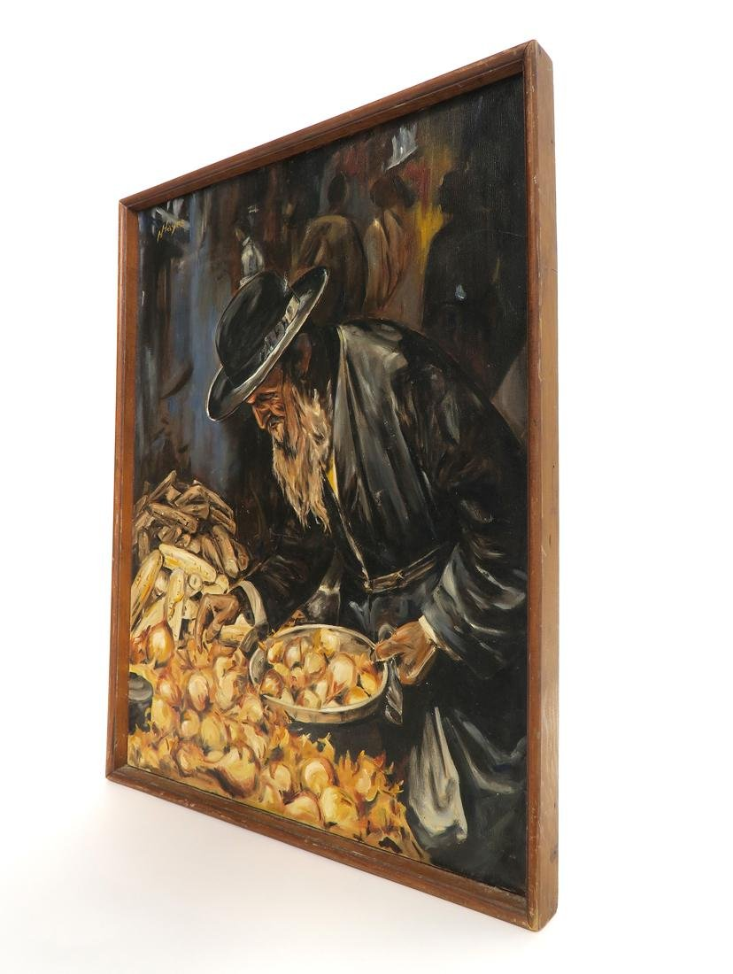 Rabbi Judaica Oil on Canvas Painting By Hayes - 3