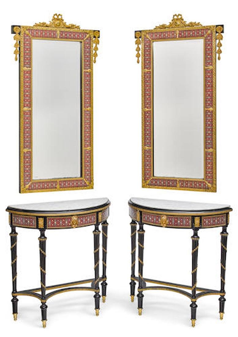 PAIR OF LOUIS XVI BRONZE/ENAMEL CONSOLE TABLES/MIRRORS