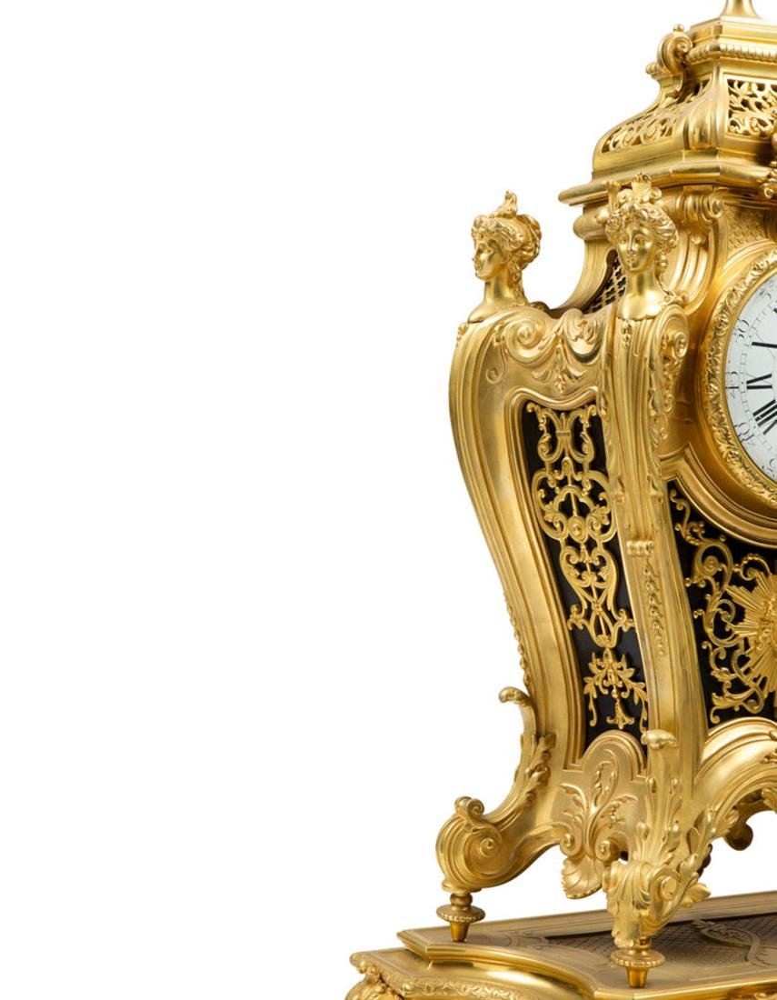 A Louis XVI style Bronze Clock on Tray - 3