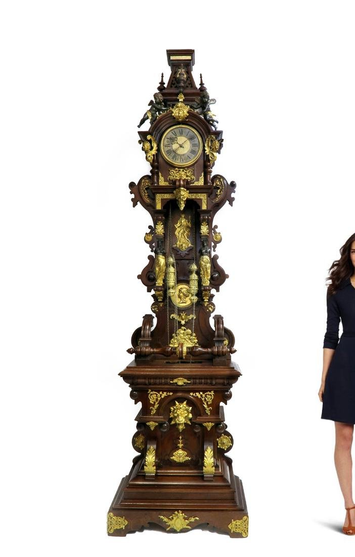 19th C. Monumental Figural Longcase Regulator Clock