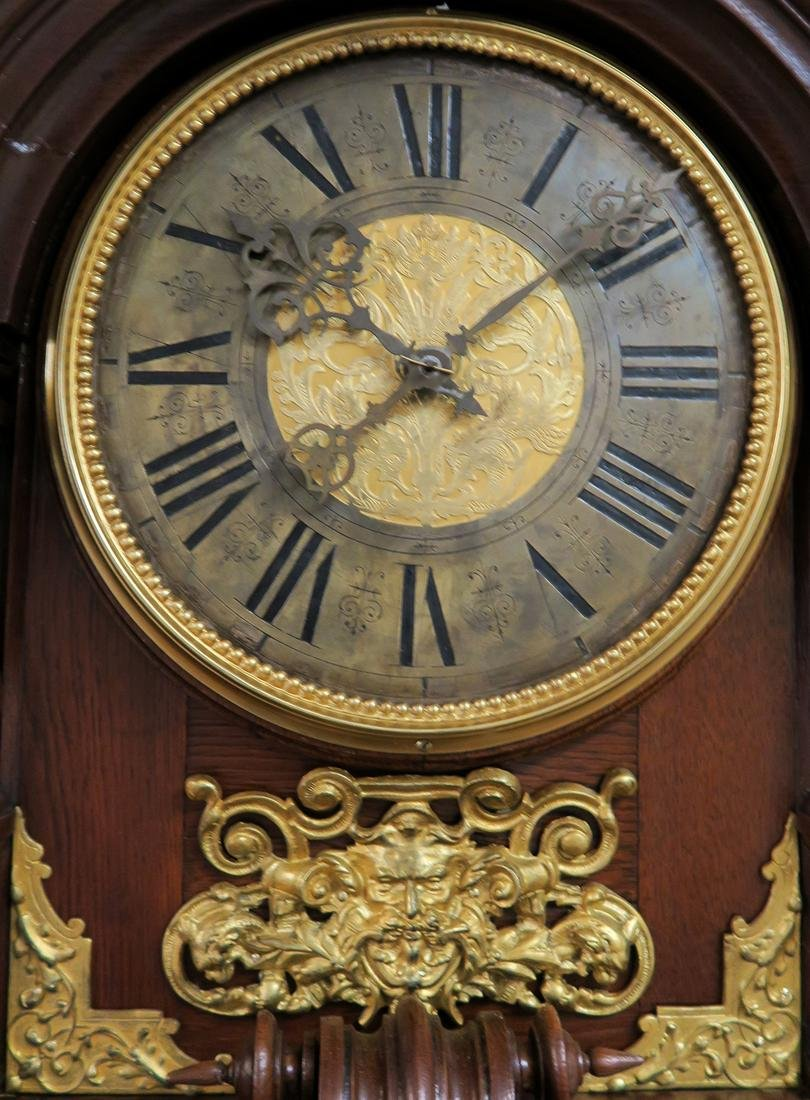 19th C. Monumental Figural Longcase Regulator Clock - 3