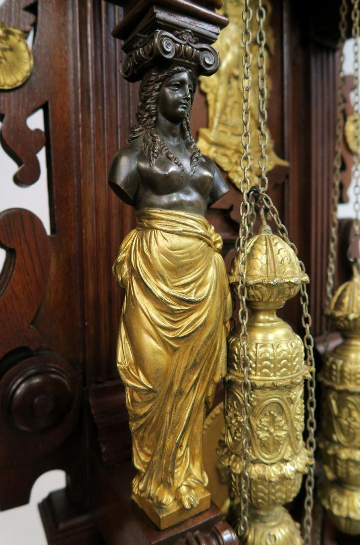 19th C. Monumental Figural Longcase Regulator Clock - 4