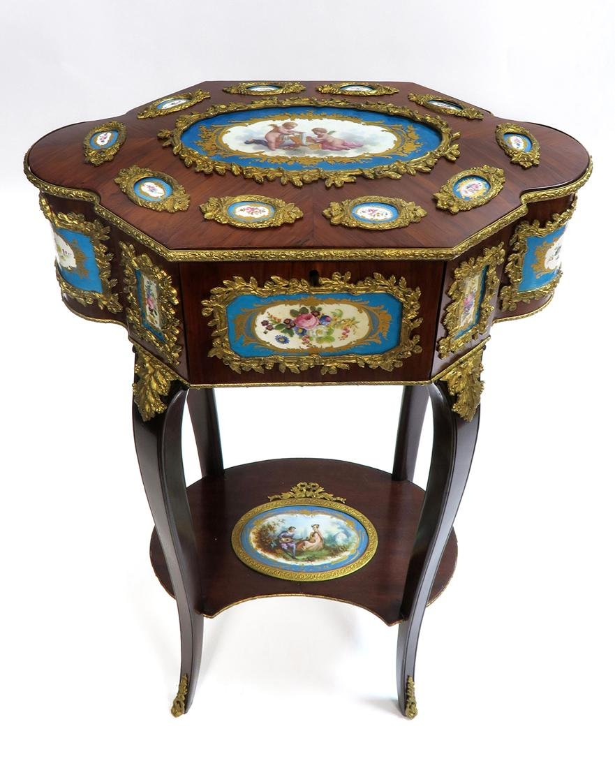 A Large 19th C. French Sevres Jewelry Box Table