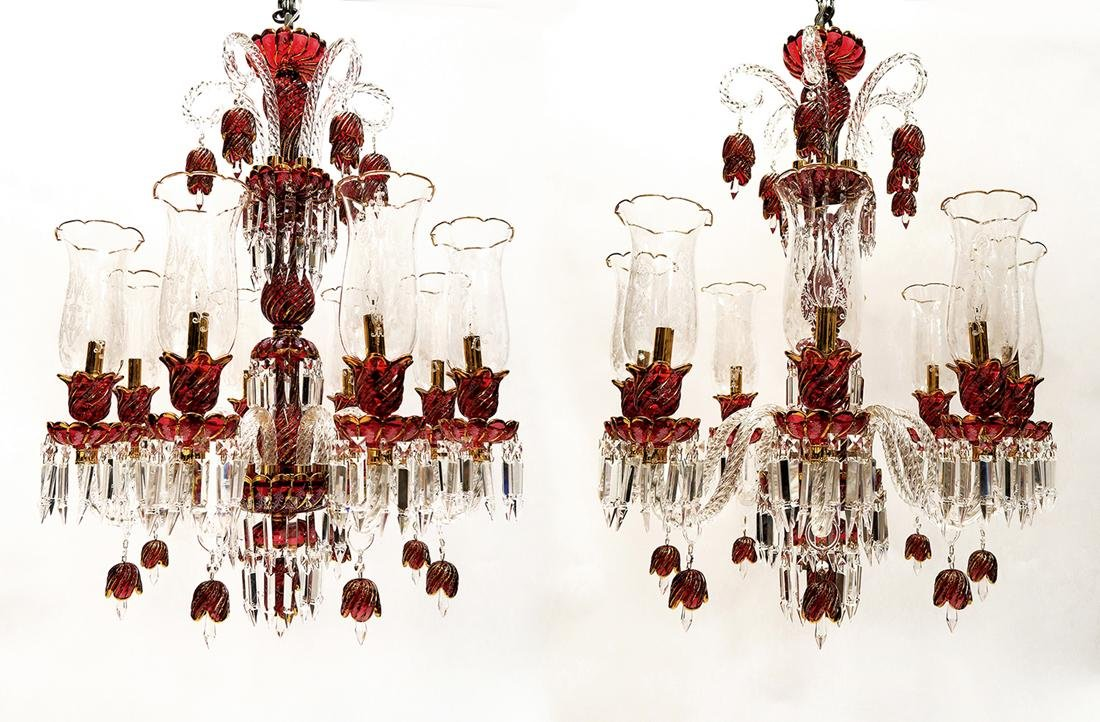 A Pair Of Baccarat style Crystal 8- Light Chandeliers