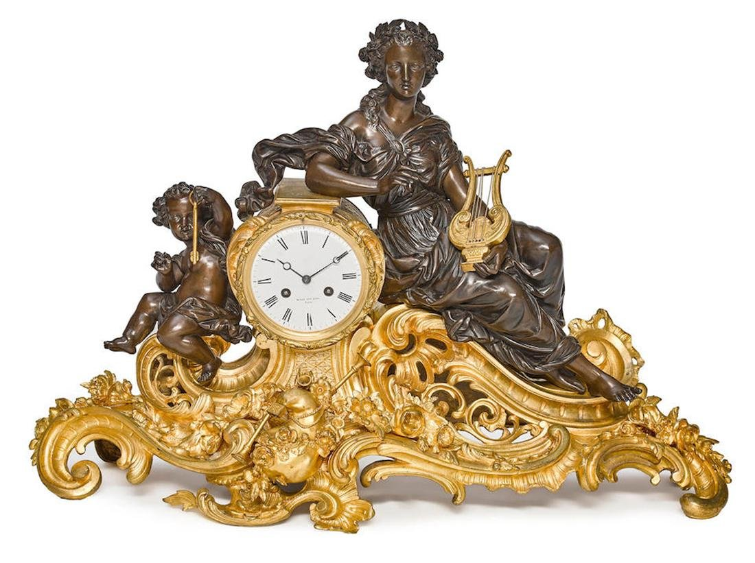 NAPOLEON III GILT/PATINATED BRONZE FIGURAL MANTEL CLOCK