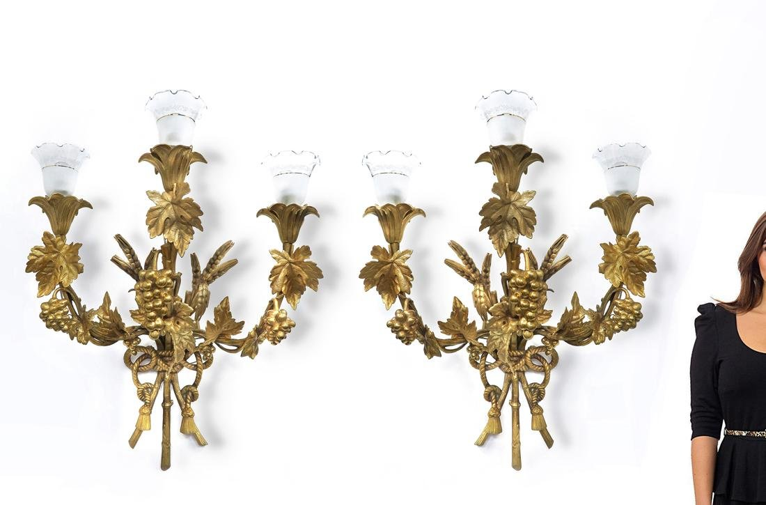 19th C. Pair of French Monumental Bronze Sconces