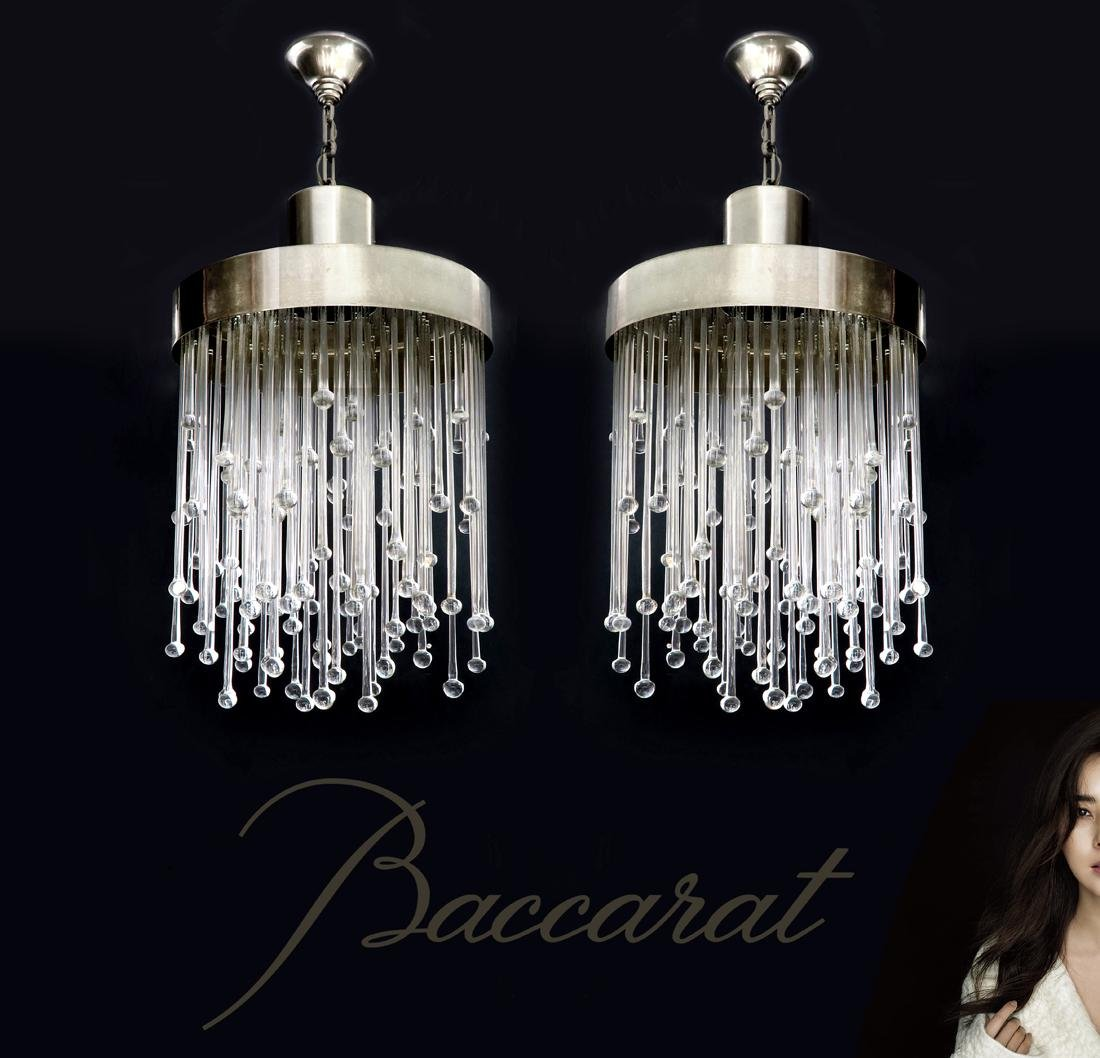 A Pair of Modern Baccarat Chandeliers, COA