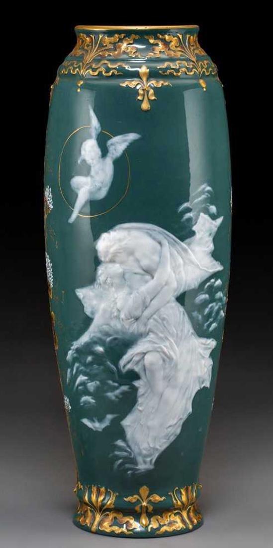 A Continental Pate-sur-Pate Porcelain Vase