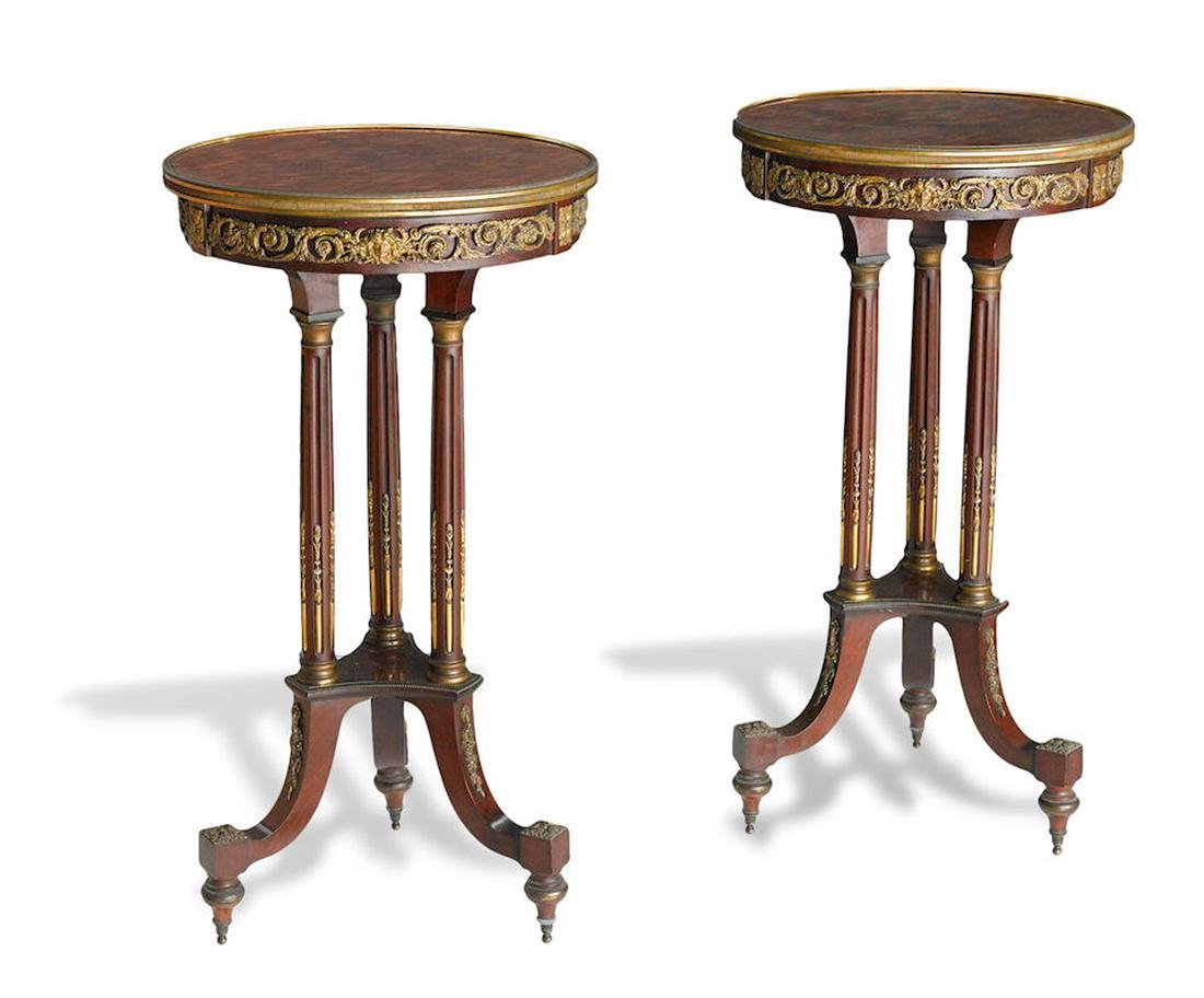 A PAIR OF GILT BRONZE PARQUETRY INLAID MAHOGANY TABLES