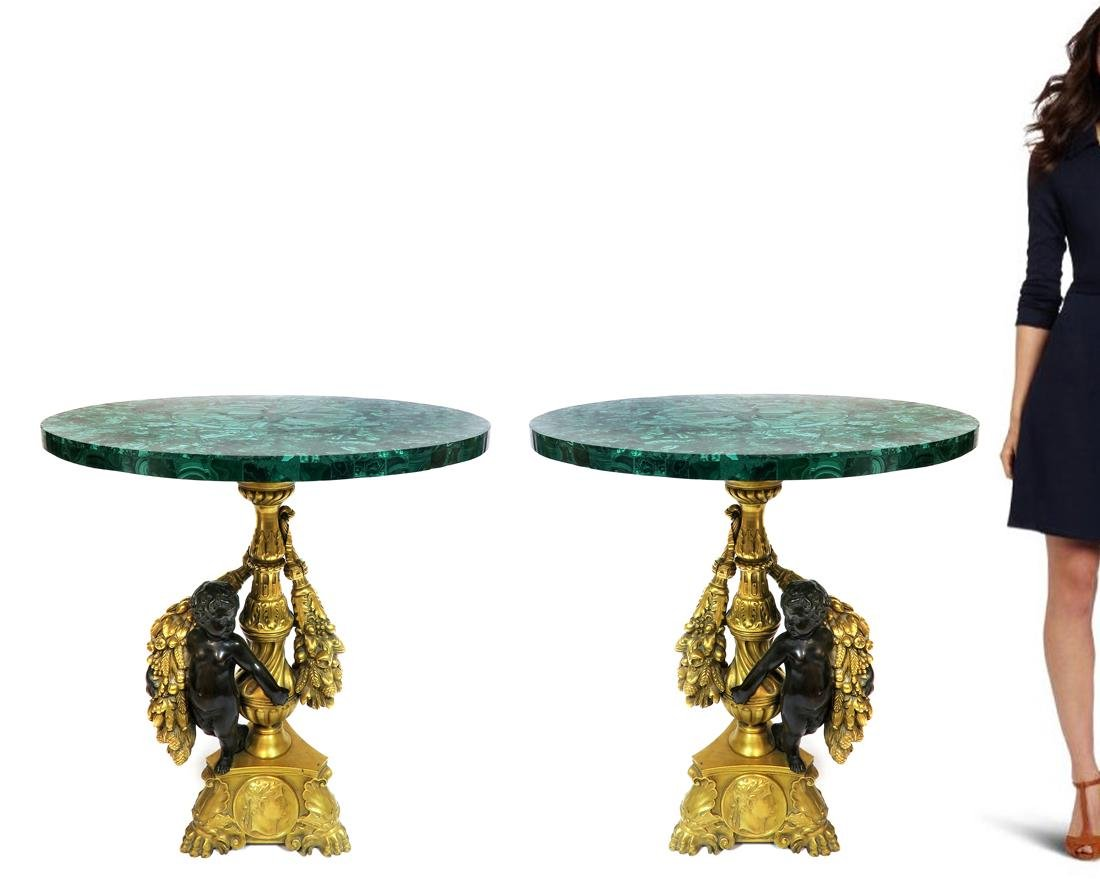 Pair of 19th C. Figural Bronze & Malachite Side Tables