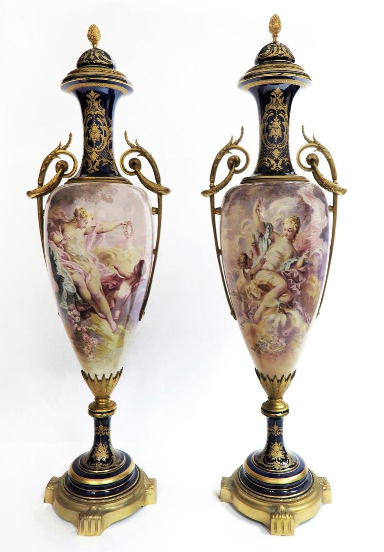 A Pair of Large 19th C. Sevres Vases Signed Maxant
