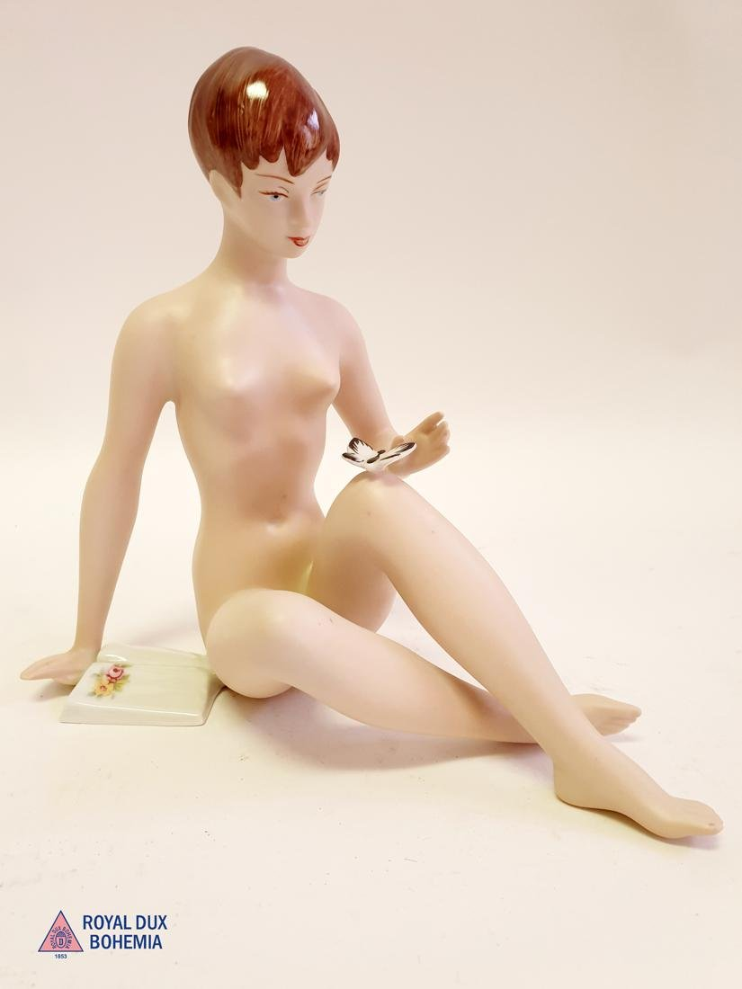 Seated Girl With Book & Butterfly, Royal Dux Figurine