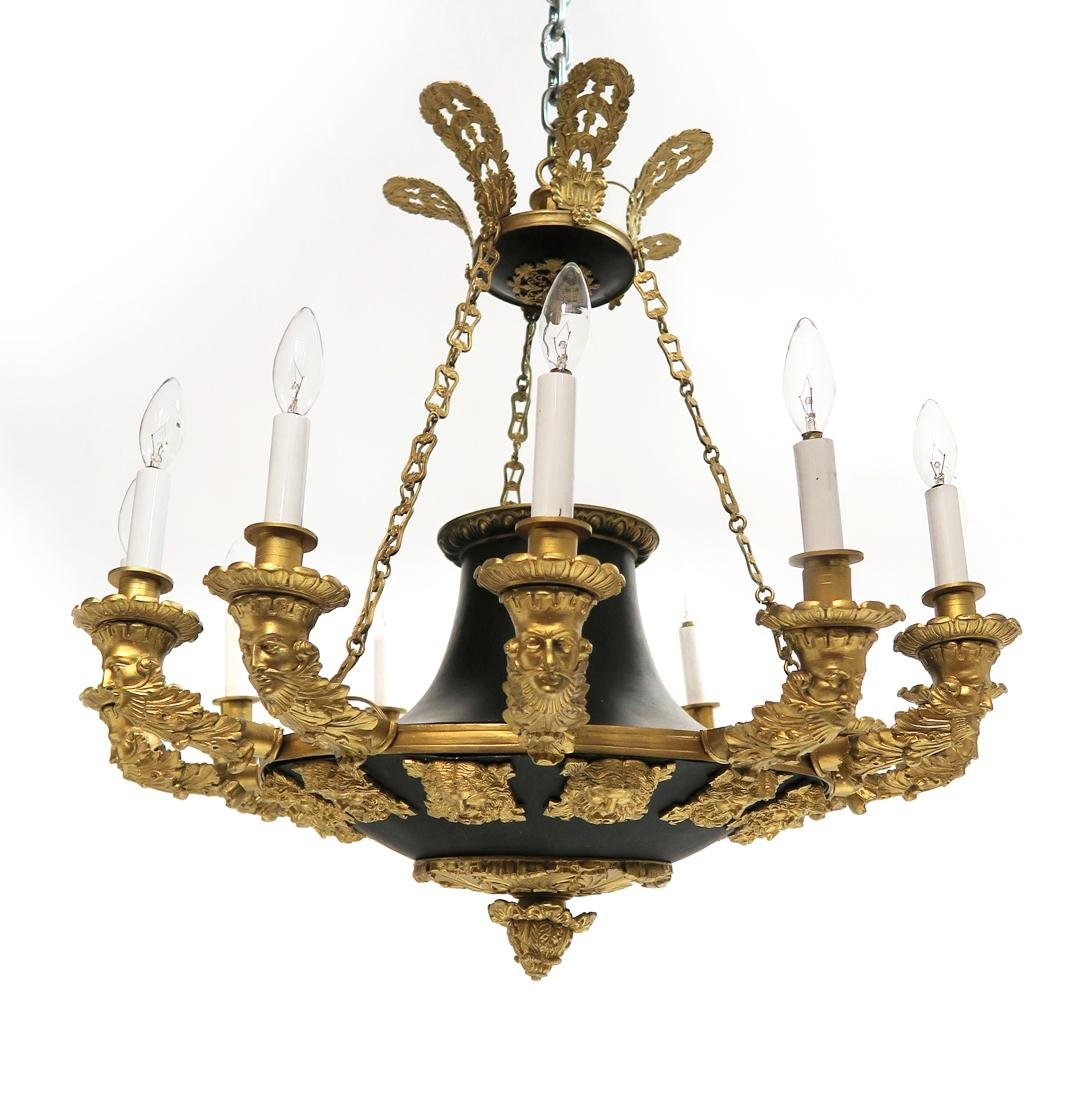 19th C. French 6 light Figural Bronze Chandelier
