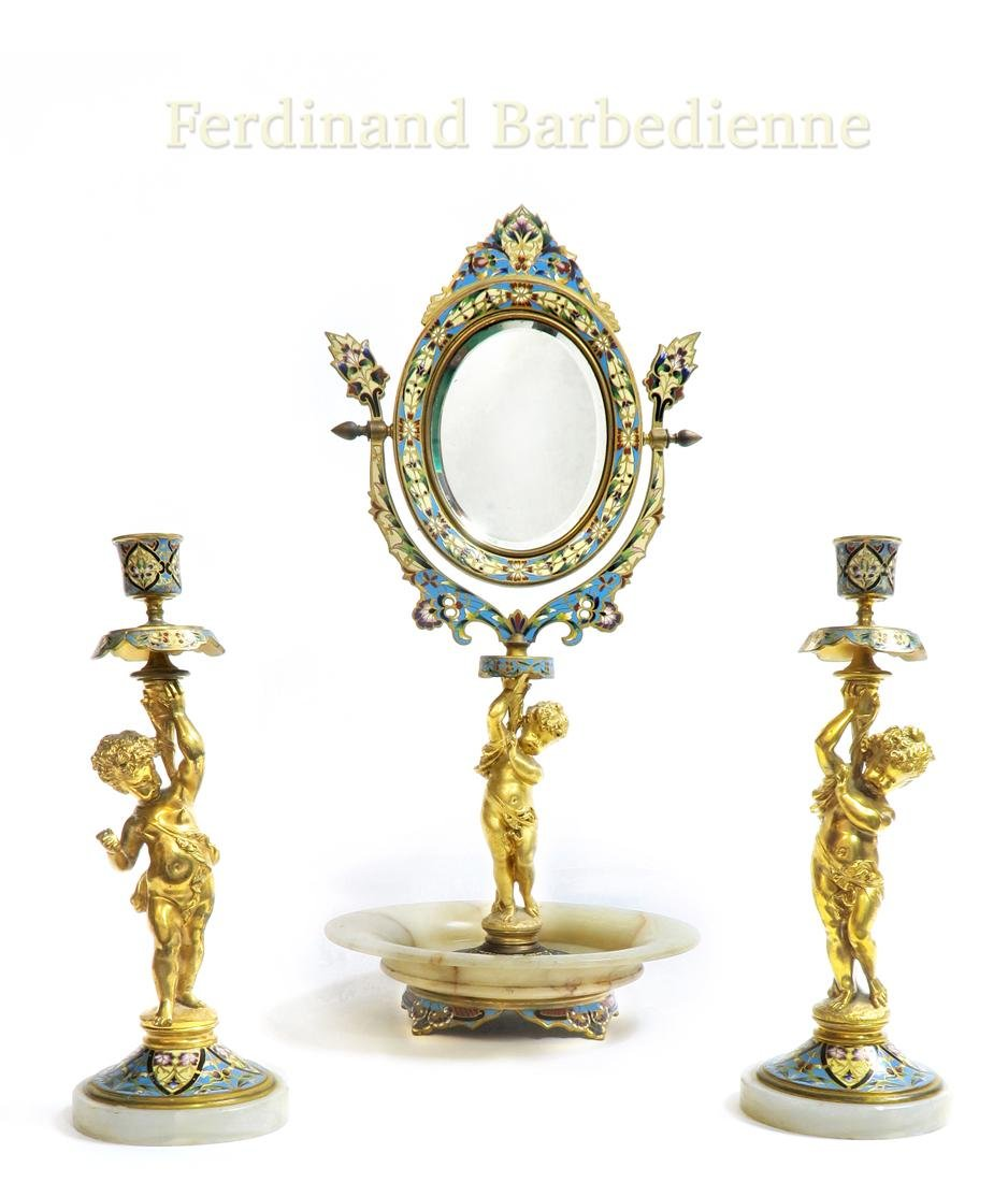 F. Barbedienne Champleve Figural Mirror W/Candle Sticks