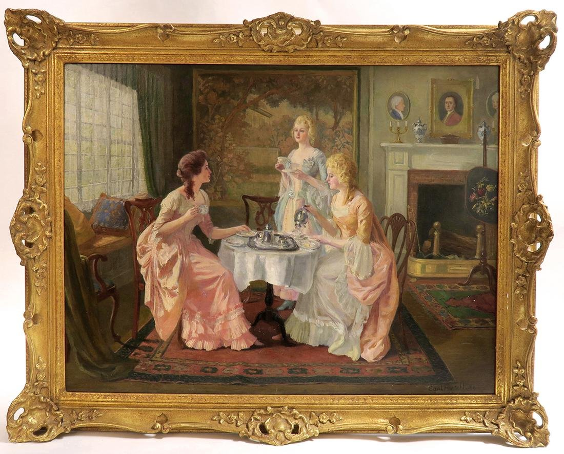 "Carl Hirschberg Large Oil on Canvas ""Afternoon Tea"""