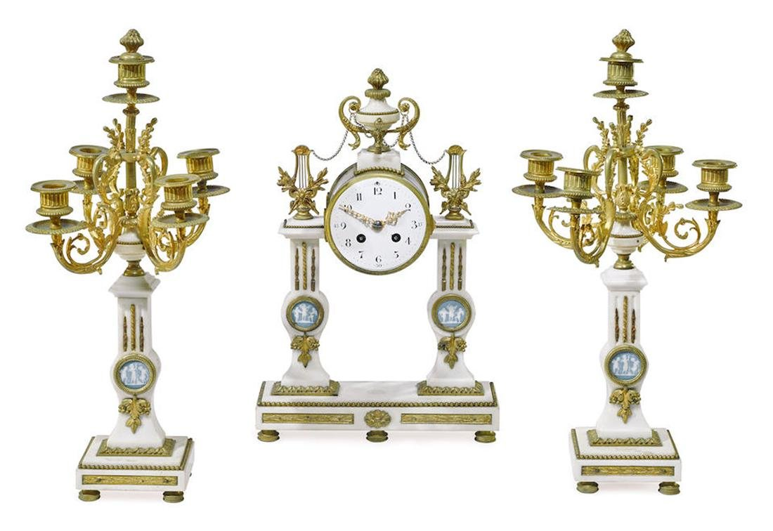 GILT BRONZE/MARBLE/JASPER MEDALLION CLOCK GARNITURE SET