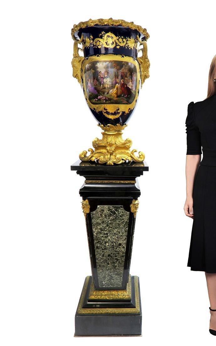 Very Fine Monumental Sevres Vase on Pedestal