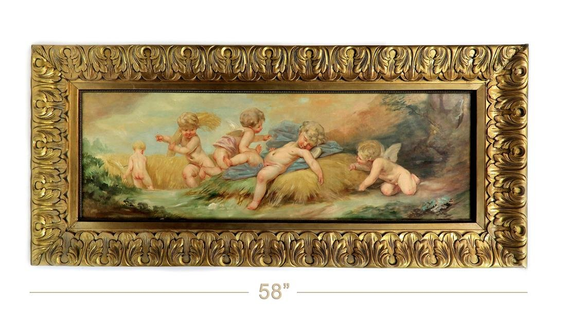 A Monumental 19th C. Framed Oil on Canvas