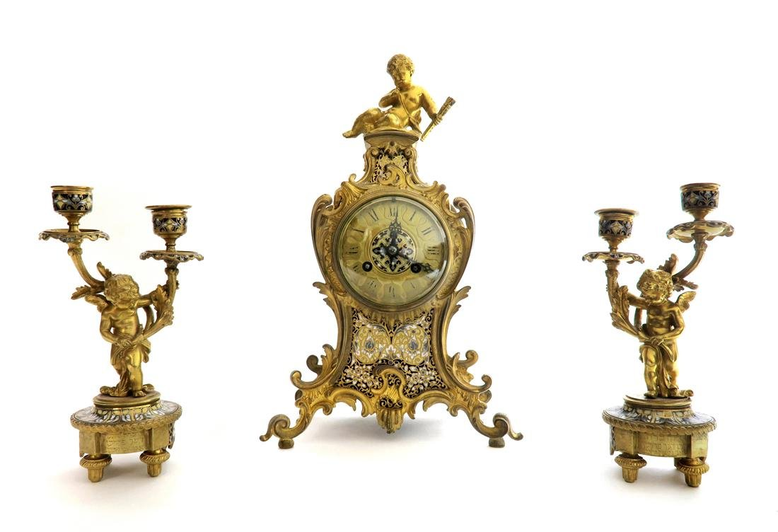 19th C. Judaica Champleve & Bronze Clock Set