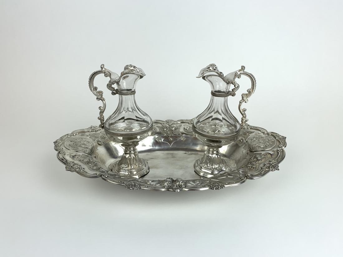 19th C. French Sterling Silver & Baccarat Cruet Set