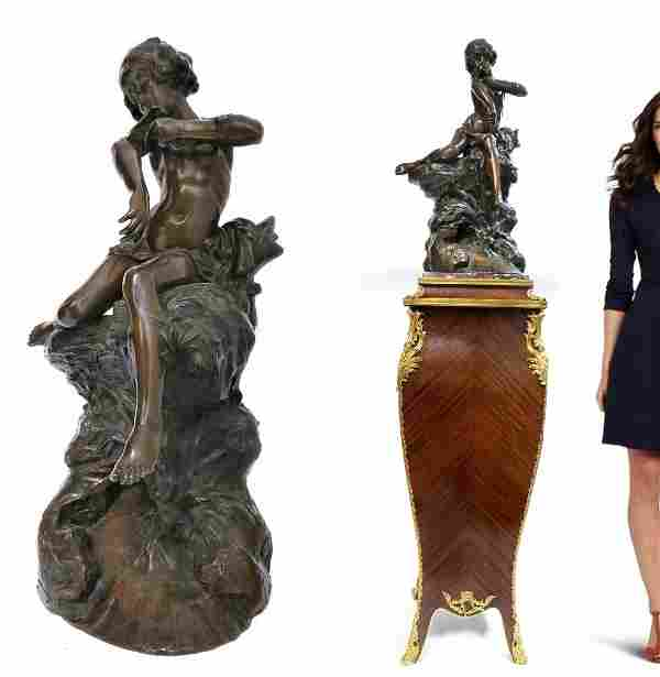 19th C. Louis Prost Large French Bronze Figure