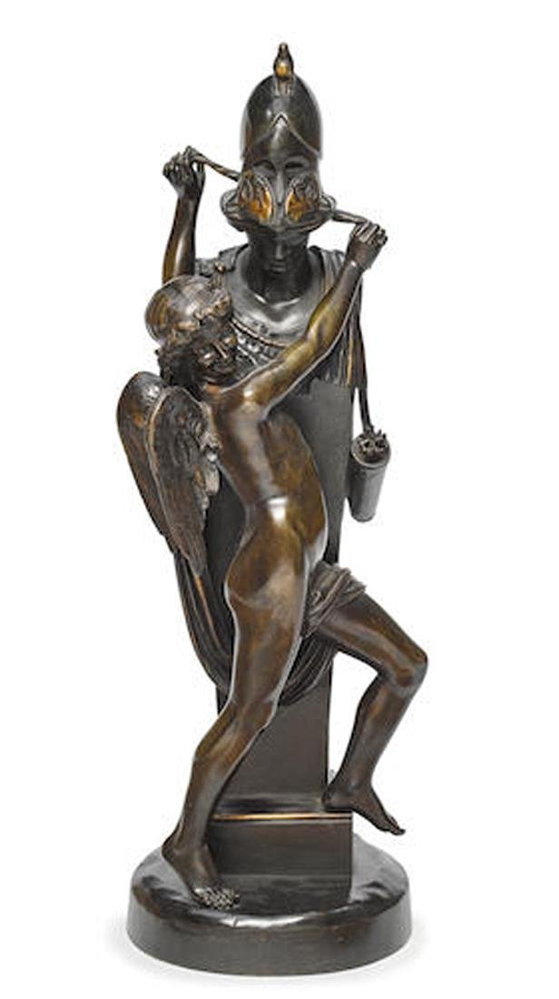 A FRENCH PATINATED BRONZE STATUE BY FELIX SANZEL