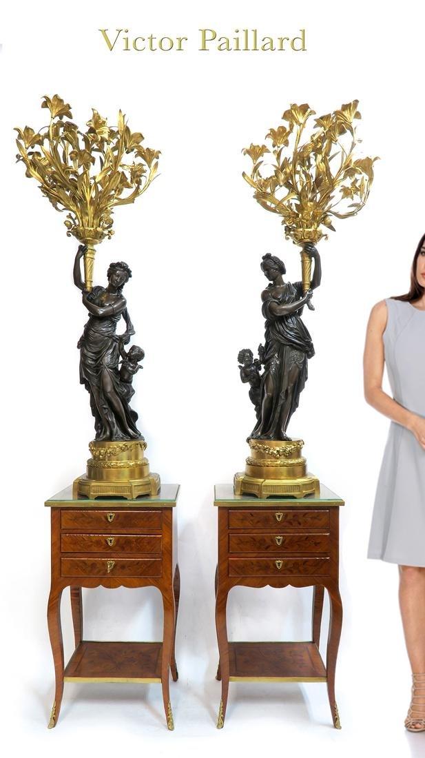 Monumental Pair of Victor Paillard Figural Bronze