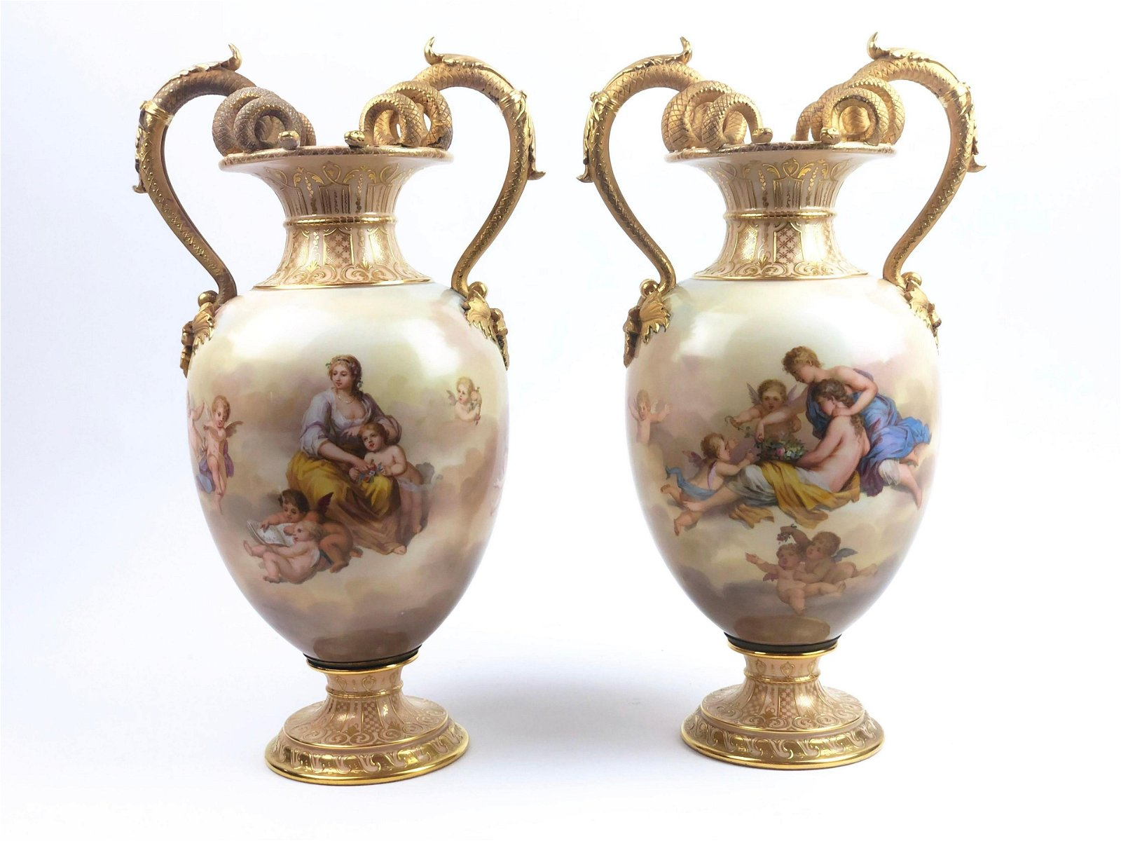 A Pair of Royal Vienna Porcelain Vases