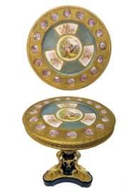 Louis XVI Style Sevres Porcelain Plaques Bronze table