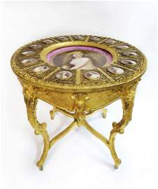Large Royal Vienna Center Table W/Porcelain Plaques