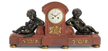 A Tiffany  Co Gilt Bronze and Rouge Marble Clock