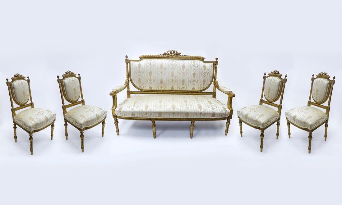 19 C. Napoleon III Suite of Upholstered Furniture Set